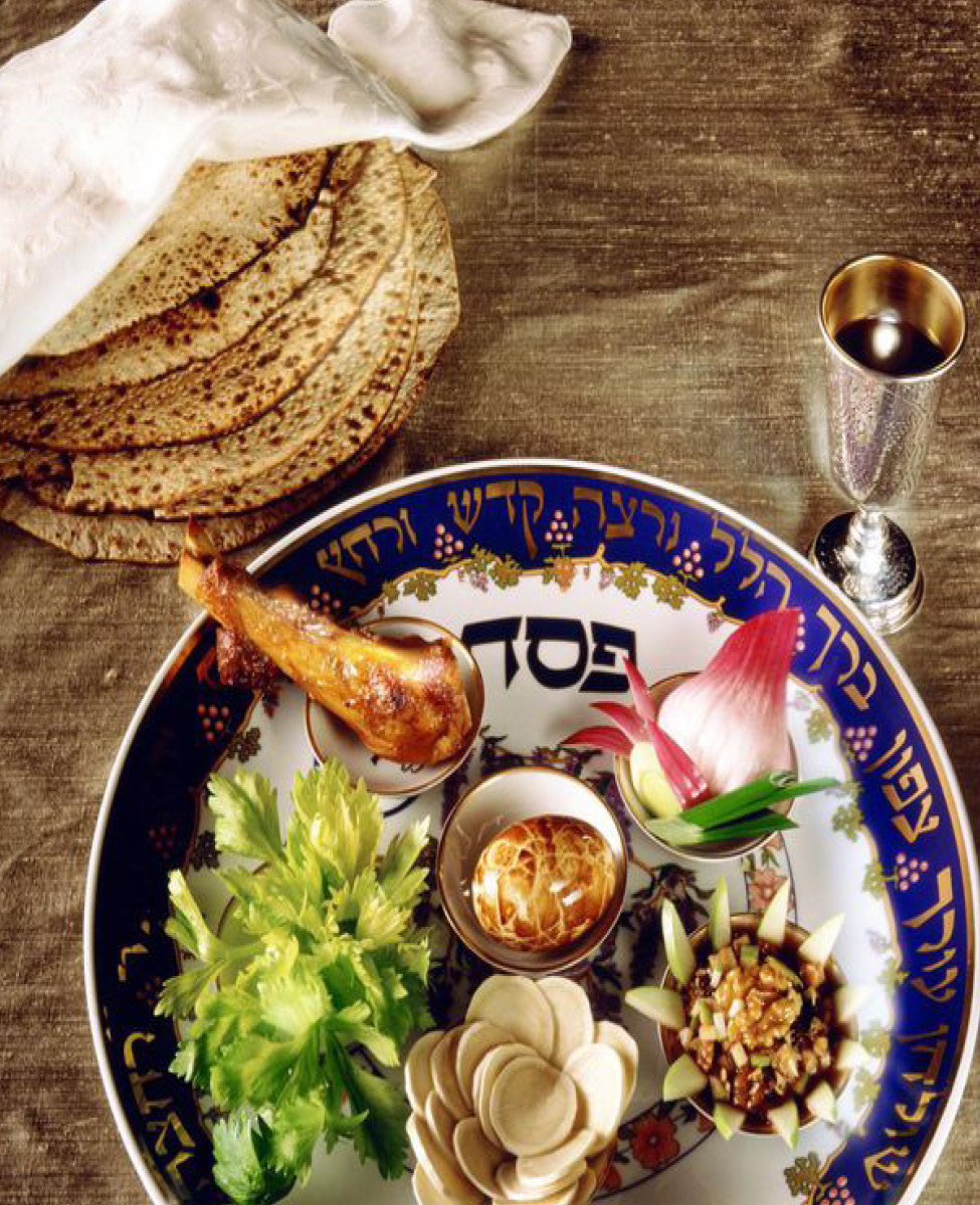 Seder plate, wine cup and matza