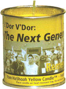 Yom HaShoah Yellow Memorial Candle